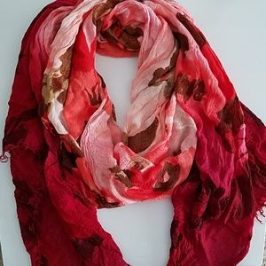 Red and Pink Floral Scarf